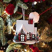 Pre-Lit Red Buffalo Check House Ornament