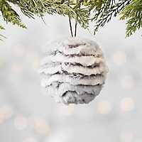 Gray Faux Fur Ball Ornament