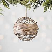 Tan Rattan Glitter Ball Ornament