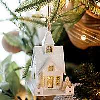 Pre-Lit White and Gold House Ornament