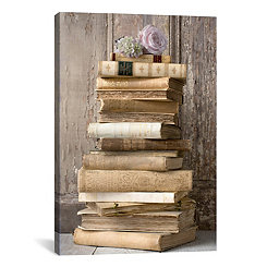 Stacked Books with Flowers Canvas Art Print