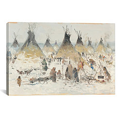 Winter Homestead Canvas Art Print