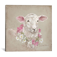 Floral Wreath Sheep Canvas Art Print