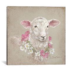 Floral Wreath Sheep Canvas Art Print