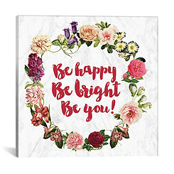 Be Happy Floral Canvas Art Print