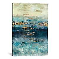 Teal and Gold Scape Canvas Art Print