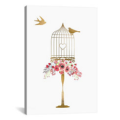 Golden Birdcage with Pink Flowers Canvas Art Print