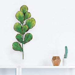 Distressed Green Leaf Branch Wall Art