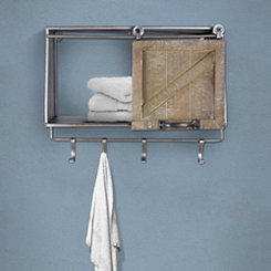 Sliding Barn Door Metal Shelf with Hooks