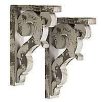 Distressed Gray Wood Shelf Brackets, Set of 2