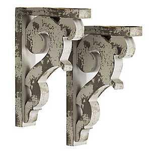 Distressed Gray Corbel Shelf Brackets, Set of 2