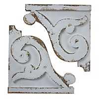 Distressed White Corbel Shelf Brackets, Set of 2
