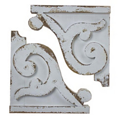 Distressed White Corbel Shelf Brackets, Set of 2