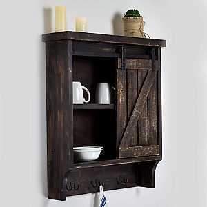Dark Wood Barn Door Wall Cabinet with Hooks