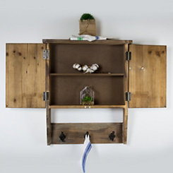 Wood Farmhouse Wall Cabinet with Hooks