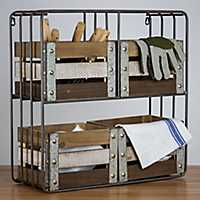 Metal Shelf Organizer with Wood Crates