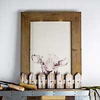 Wood Fence 3D Sheep Framed Canvas Art Print