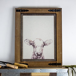 Vintage Cow Wood Framed Canvas Art Print