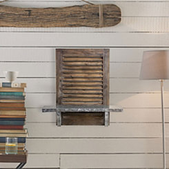 Rustic Shuttered Wood Wall Shelf