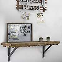 Scalloped Rustic Wood Wall Shelf, 35 in.