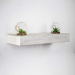 Whitewashed Wood Floating Shelf, 24 in.