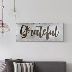 Grateful Studded Metal Wall Plaque