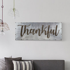 Thankful Wood and Metal Wall Plaque