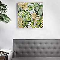 Palm Leaves on Carved Wood Art Print