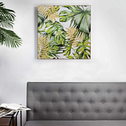 Palm Leaves on Carved Wood Art Print
