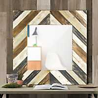 Rustic Distressed Striped Wood Decorative Mirror
