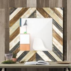 Rustic Distressed Striped Wood Decorative Mirror
