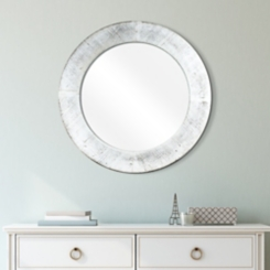 Round Rustic Distressed White Wood Wall Mirror