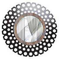 Geometric Wood and Metal Round Decorative Mirror