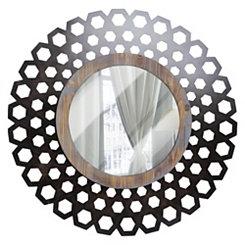 Geometric Wood and Metal Round Decorative Mirror