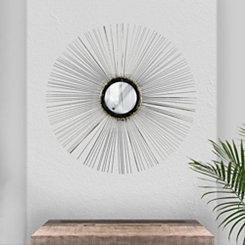 Silver Burst Metal Wire Decorative Wall Mirror