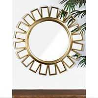 Round Gold Wheel Wall Mirror