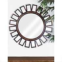 Round Walnut Brown Wheel Wall Mirror