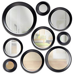 Round Modern Black Decorative Mirrors, Set of 9