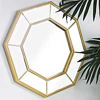 Riveted Gold Octagon Wall Mirror