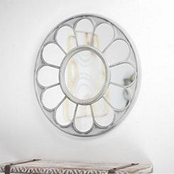 Round White Daisy Flower Wall Mirror