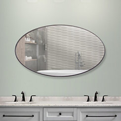 Walnut Brown Oval Infinity Frameless Wall Mirror