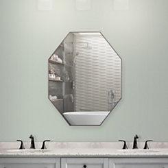 Walnut Brown Octagon Infinity Frameless Mirror