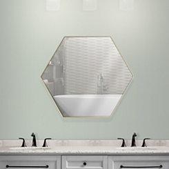 Gold Hexagon Infinity Frameless Wall Mirror