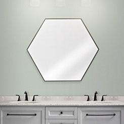 Walnut Brown Hexagon Infinity Frameless Mirror
