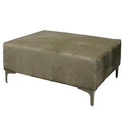 Gray Velvet Stitched Ottoman with Chrome Legs