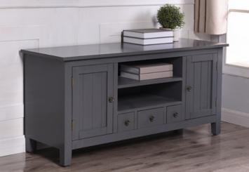 Beadboard Gray Media Cabinet with Open Shelves