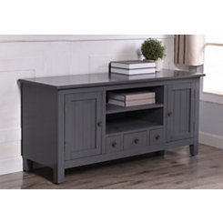 Beadboard Gray Media Cabinet with Open Shelves