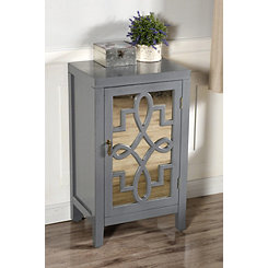 Mirror with Overlay Pattern One Door Gray Cabinet