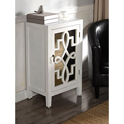 Mirror with Overlay Pattern One Door White Cabinet