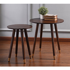 Round Gold Capped Legs Accent Tables, Set of 2